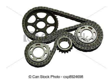 Pictures of mechanism with gears and a chain.