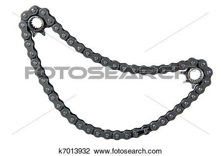 Clip Art of Chain drive, isolated on a white background k7013932.