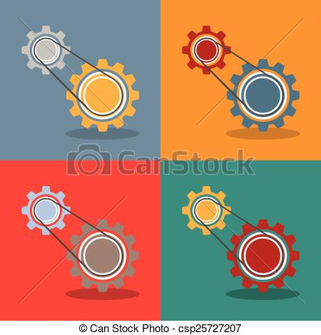 Vector Clipart of 2 Gears Engine Flat Design.