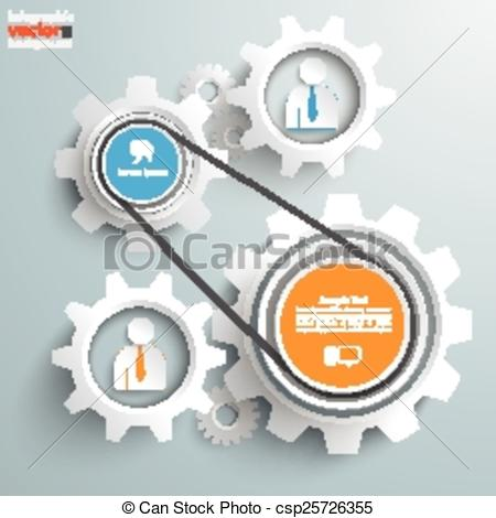 Clipart Vector of 2 Gears Engine Employee.