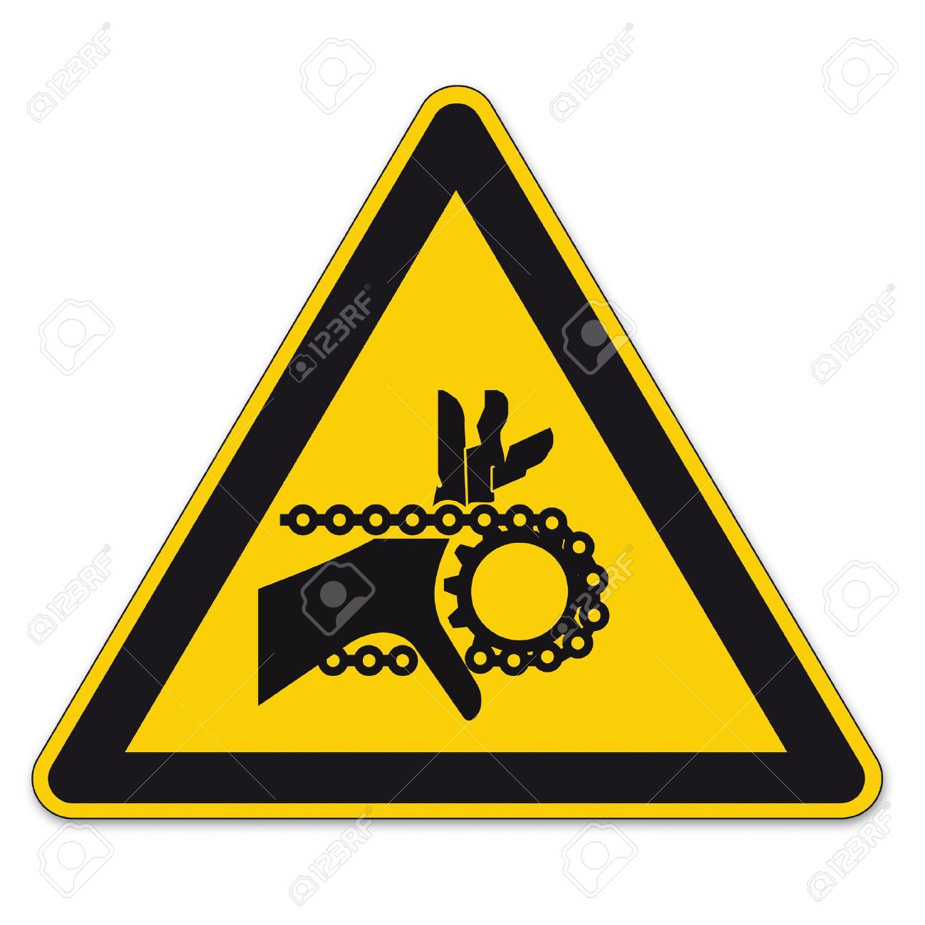 Safety Signs Warning Triangle Sign Vector Pictogram Icon Hand.