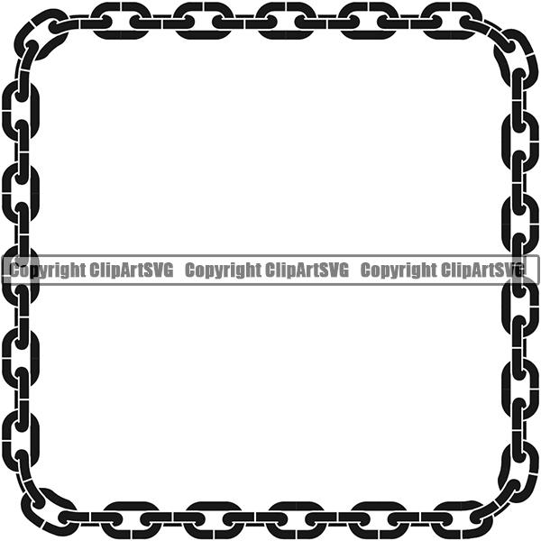 Design Element Metal Chain Link Frame Border ClipArt SVG.
