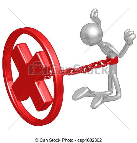 Clip Art of Chained To Rejection.