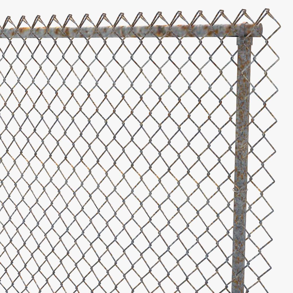 chain link fence 3D Model MAX OBJ 3DS C4D STL MTL.