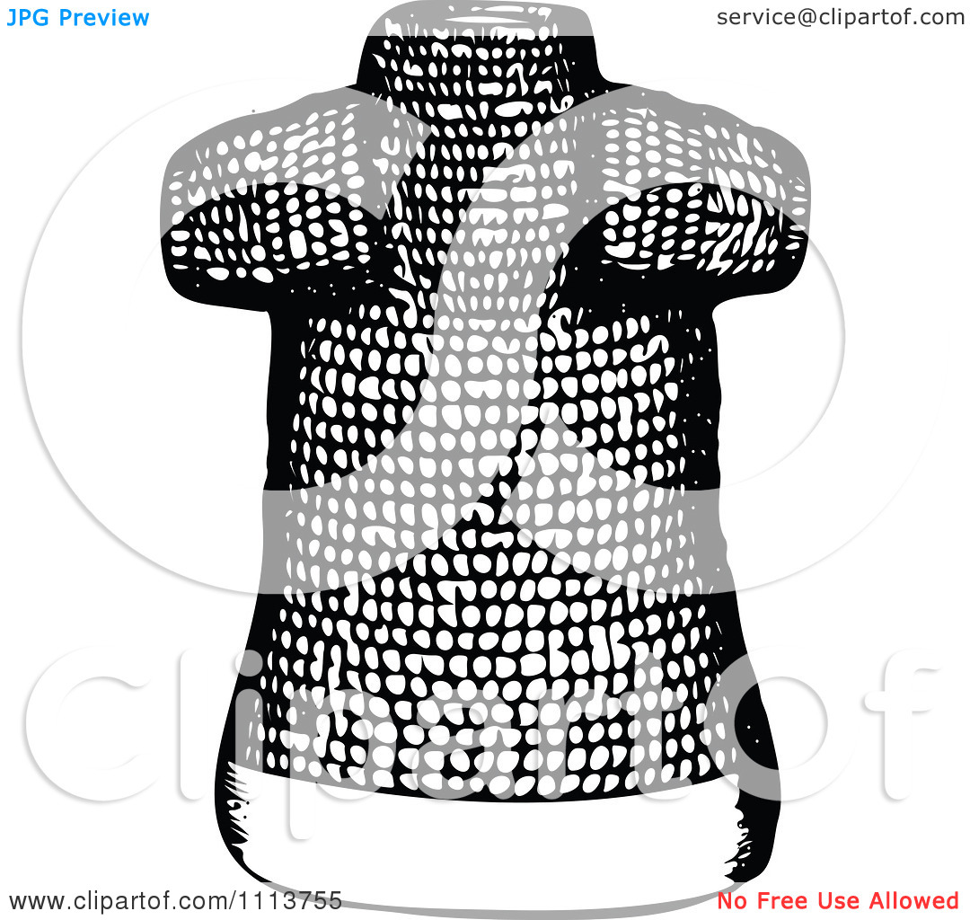 Clipart Vintage Black And White Ancient Chainmail Coat 1.