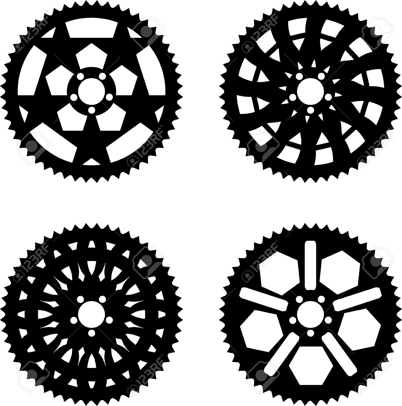 Vector Pack Of Bike Chainrings And Rear Sprocket Royalty Free.