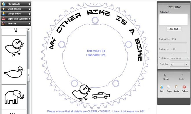 Personalized, Engraved Bike Chainrings.