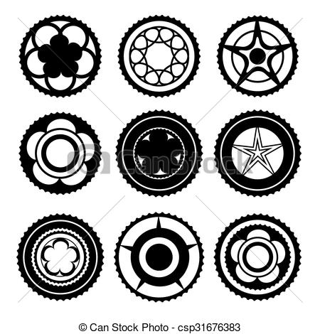Vector of Bike Chainring Set.