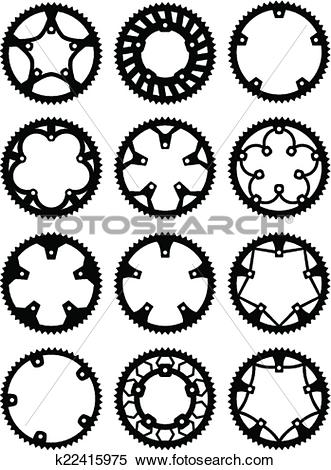 Clipart of Vector chainrings pack k22415975.