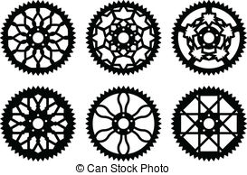 EPS Vectors of vector bicycle cogwheel sprocket crankset symbol.