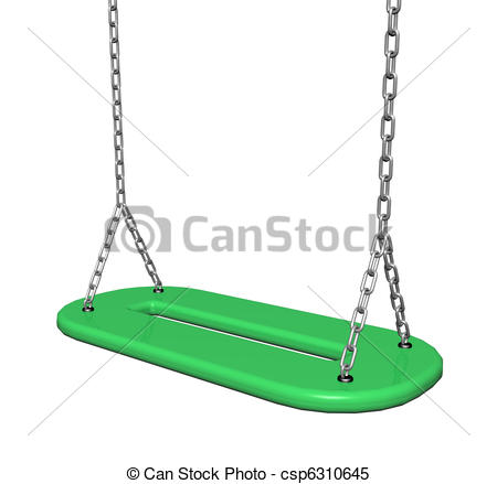 Stock Illustrations of Green plastic swing with chains, 3d.