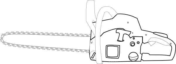 Chainsaw White Outlined Clip Art at Clker.com.