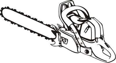 chainsaw clipart black and white #9