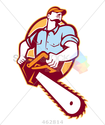 Stock Illustration of Logger in shirt carrying chainsaw cartoon logo.
