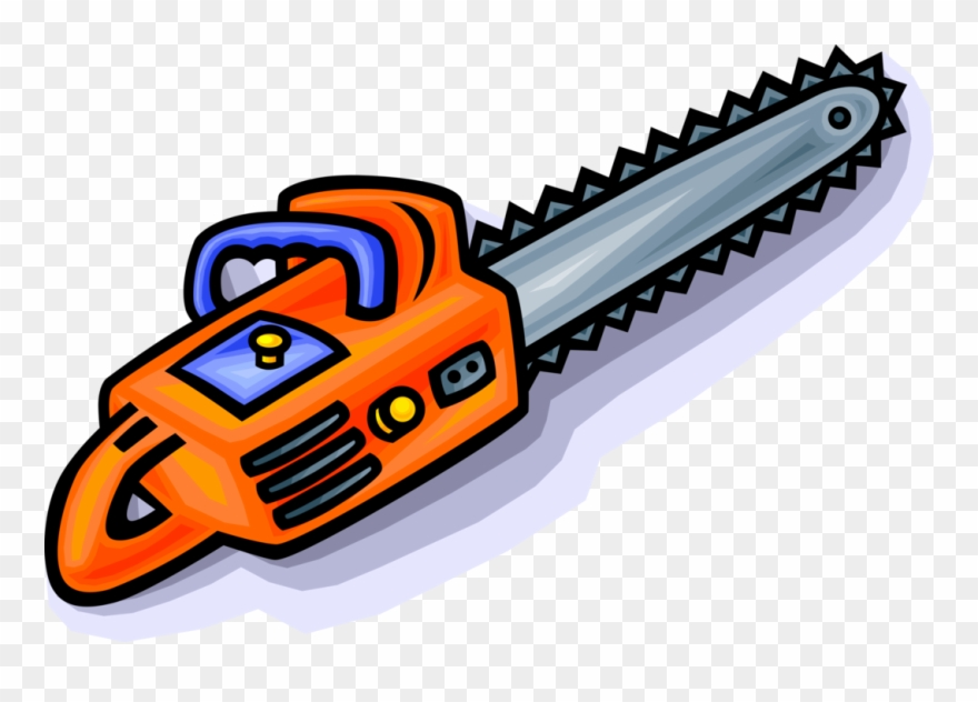 Vector Illustration Of Portable Mechanical Chainsaw.