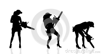 Chainsaw Black Vector Silhouette Stock Vector.