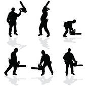 Clip Art of chainsaw black vector silhouette k7639399.