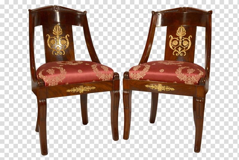 Chair, two brown wooden framed padded chairs transparent.