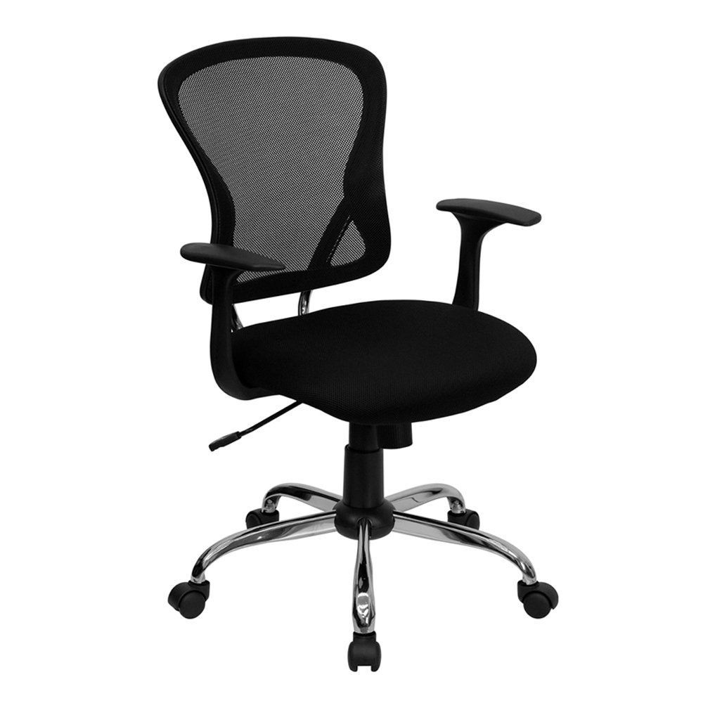 Amazon.com: Mid Back Black Mesh Swivel Task Chair with Chrome Base.