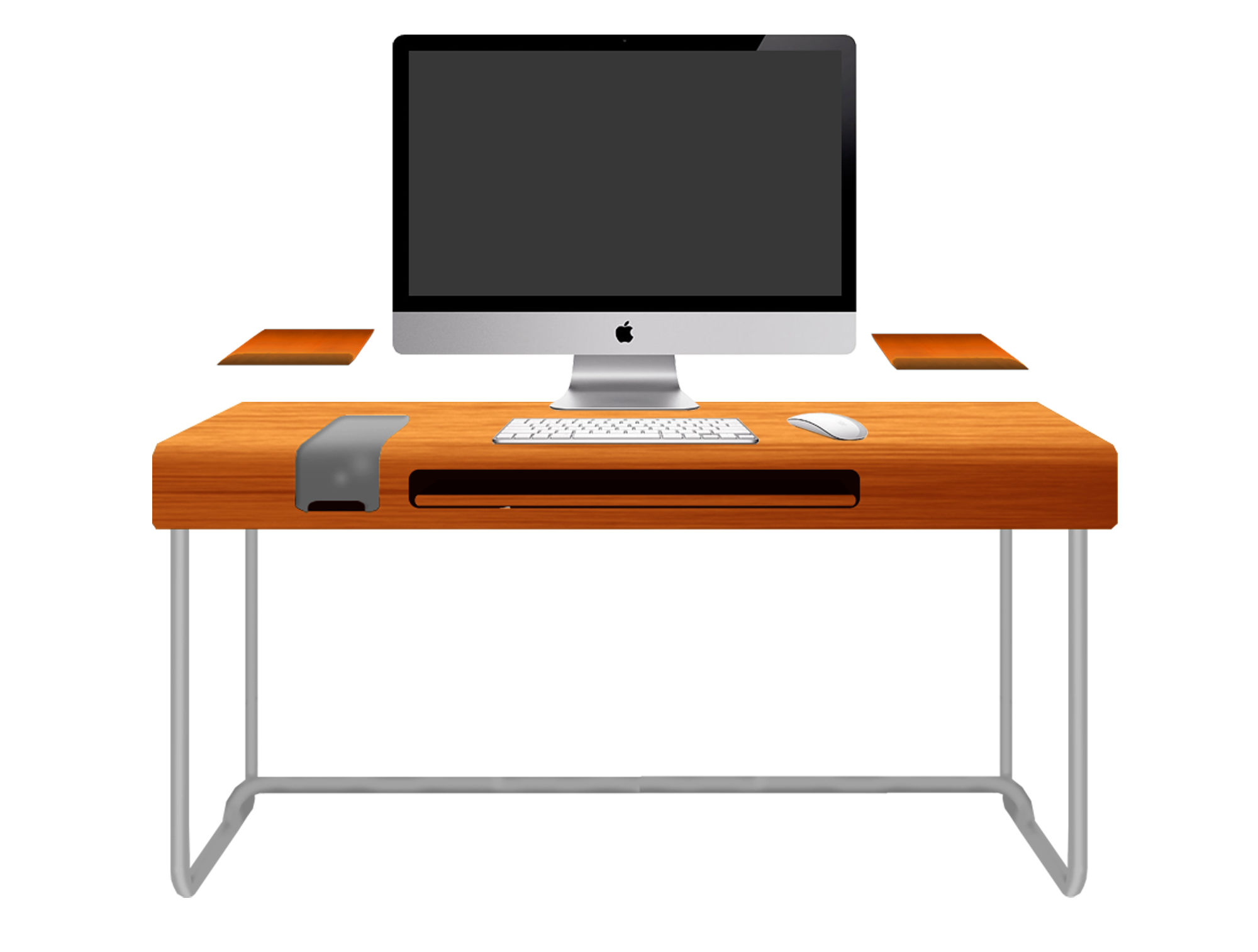 Computer Desk with Chair Clip Art.
