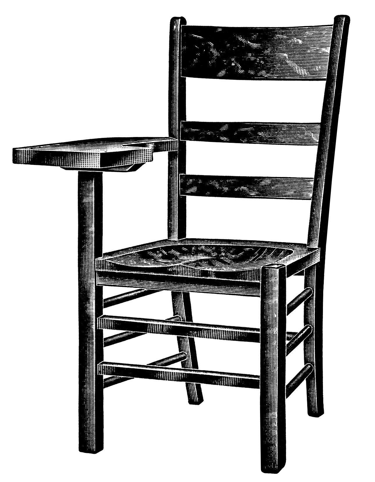 vintage school clipart, wooden tablet arm chair, black and.
