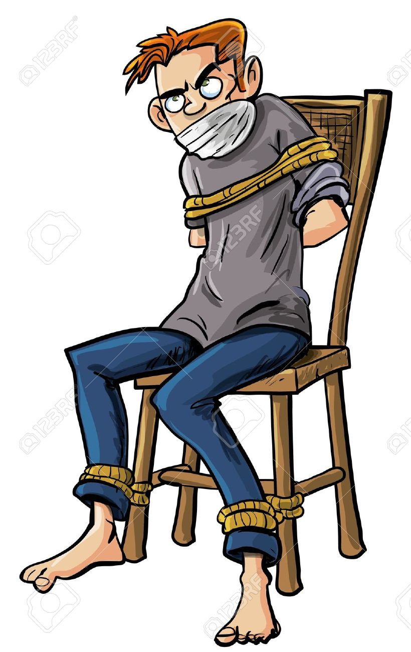 Cartoon Illustration Of A Barefoot Angry Scowling Young Man Tied.