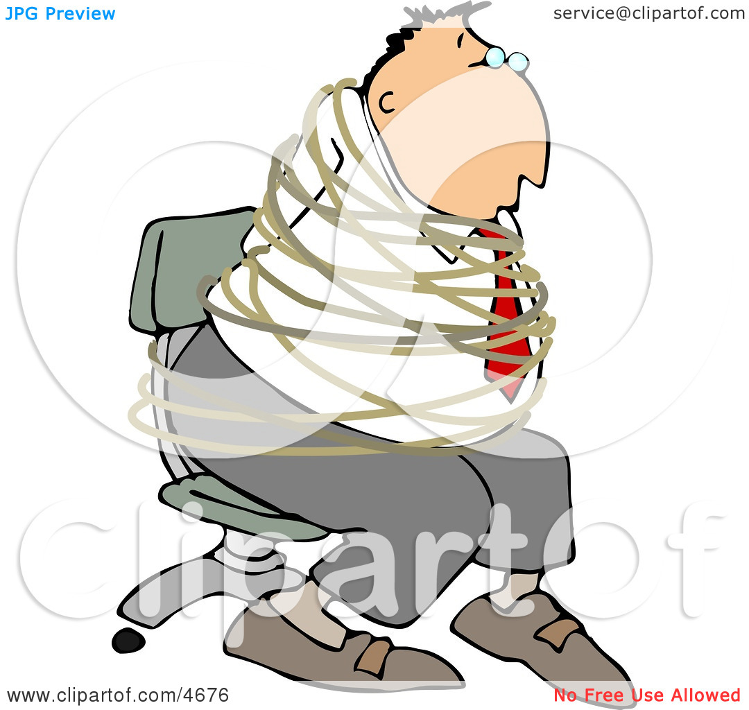 Hostage Businessman Tied with Rope to a Chair Clipart by Dennis.