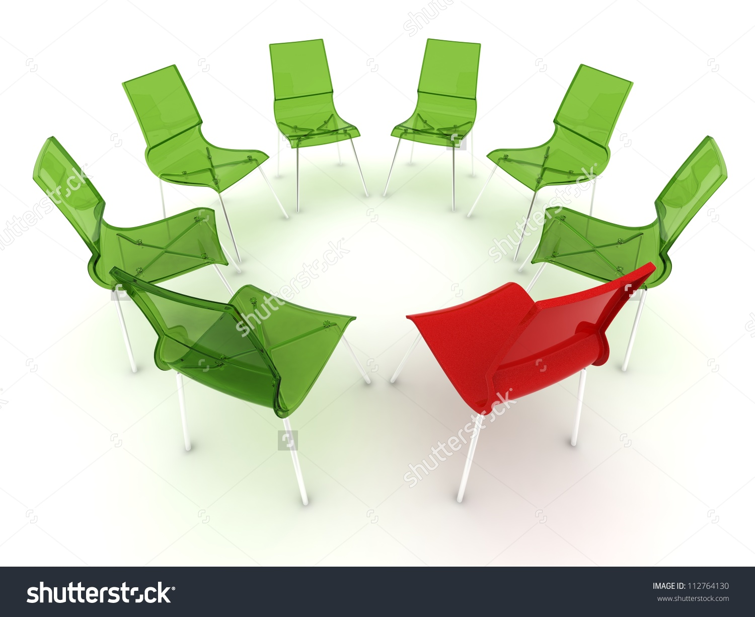 Red Chair In A Circle With Transparent Green Chairs Stock Photo.