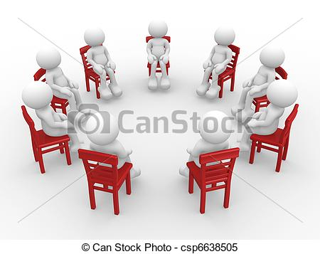 Stock Illustrations of Chairs in a circle.