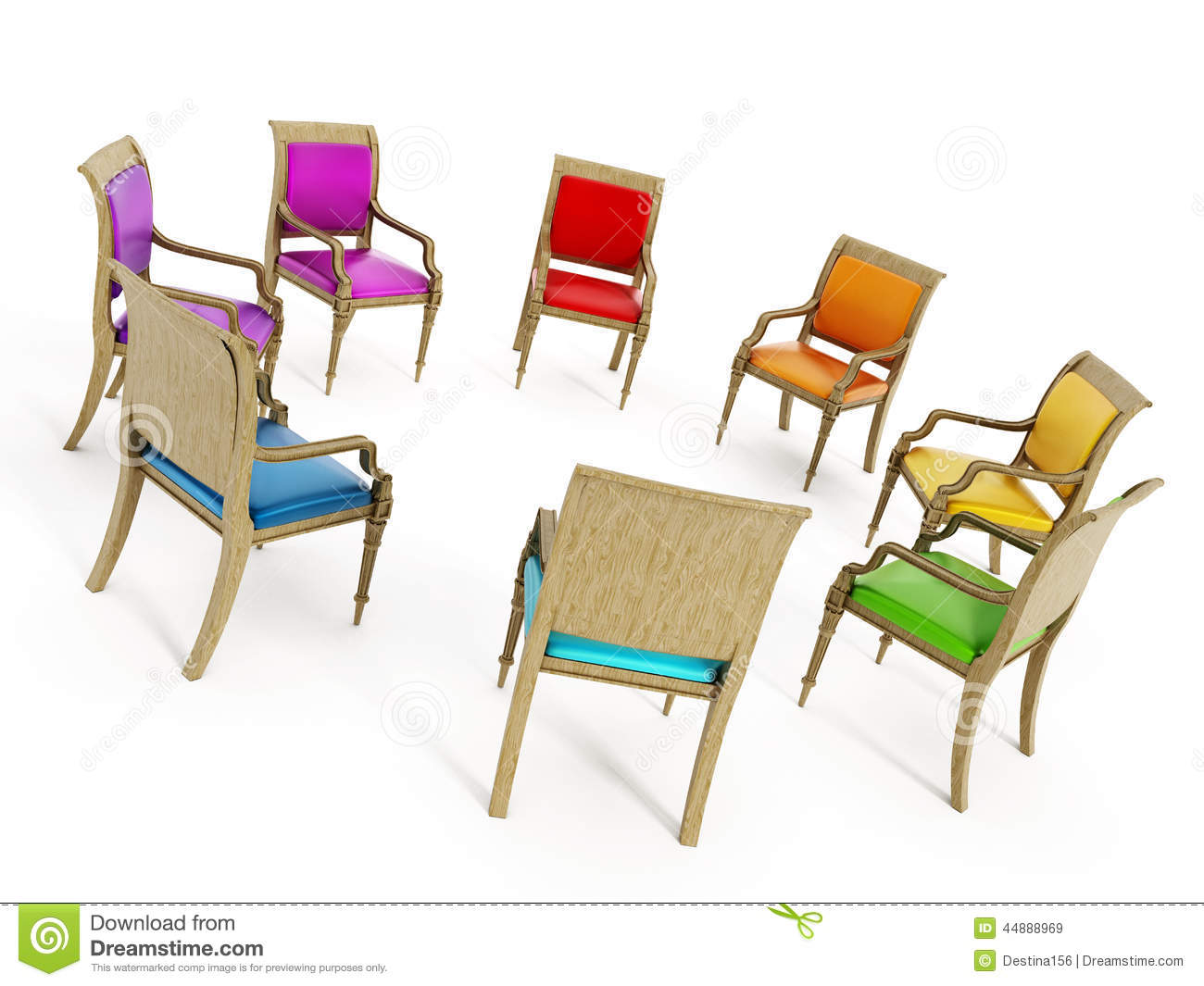 Chairs In Circle Formation Stock Illustration.