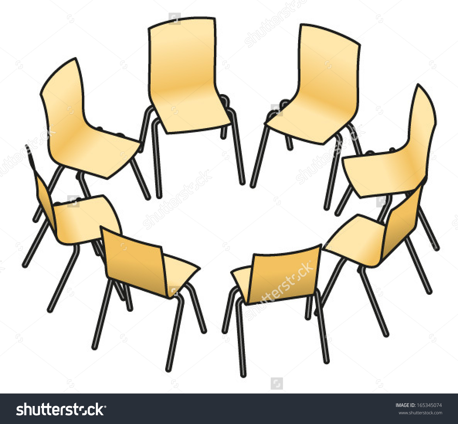 Eight Chairs Arranged Circle Group Work Stock Vector 165345074.