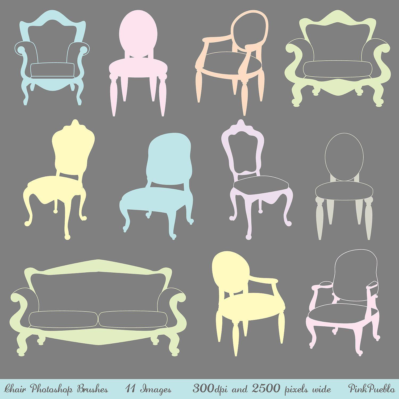 Chair Photoshop Brushes, Furniture Photoshop Brushes, Decor.