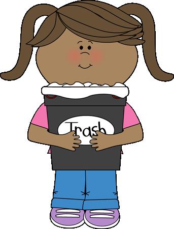 Girl Classroom Trash Helper Clip Art.