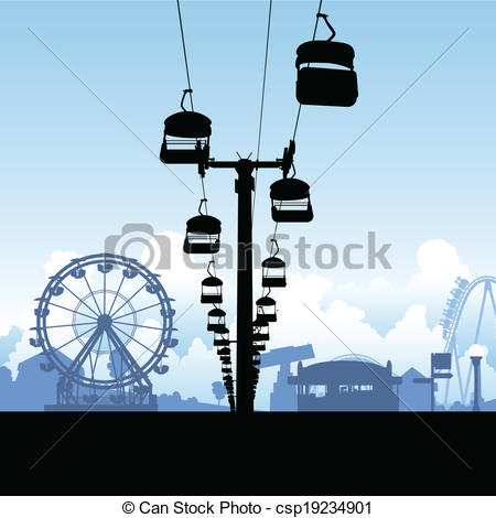 Vector Clipart of Midway Amusement Rides.