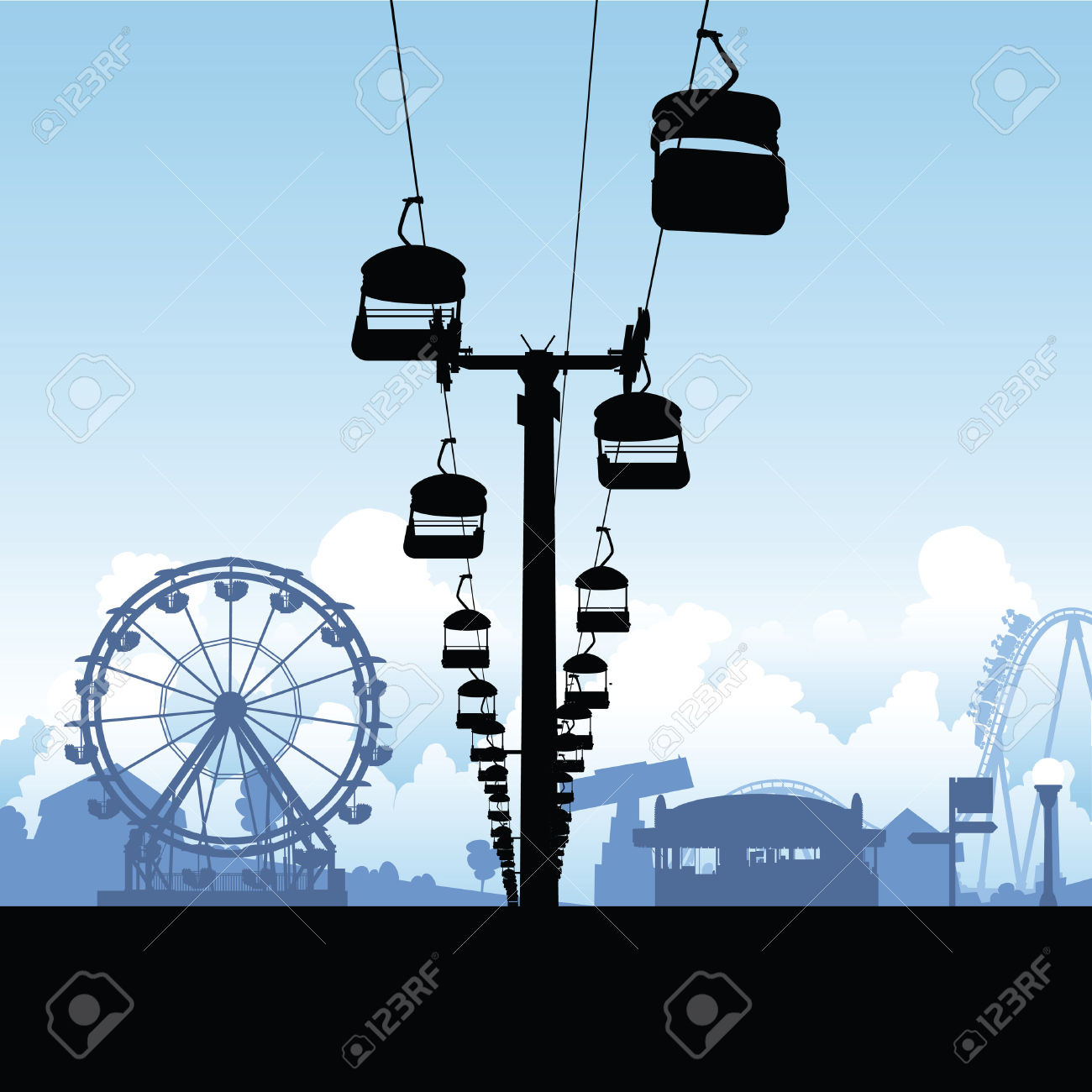 Silhouette Of A Chairlift Ride In An Amusement Midway. Royalty.