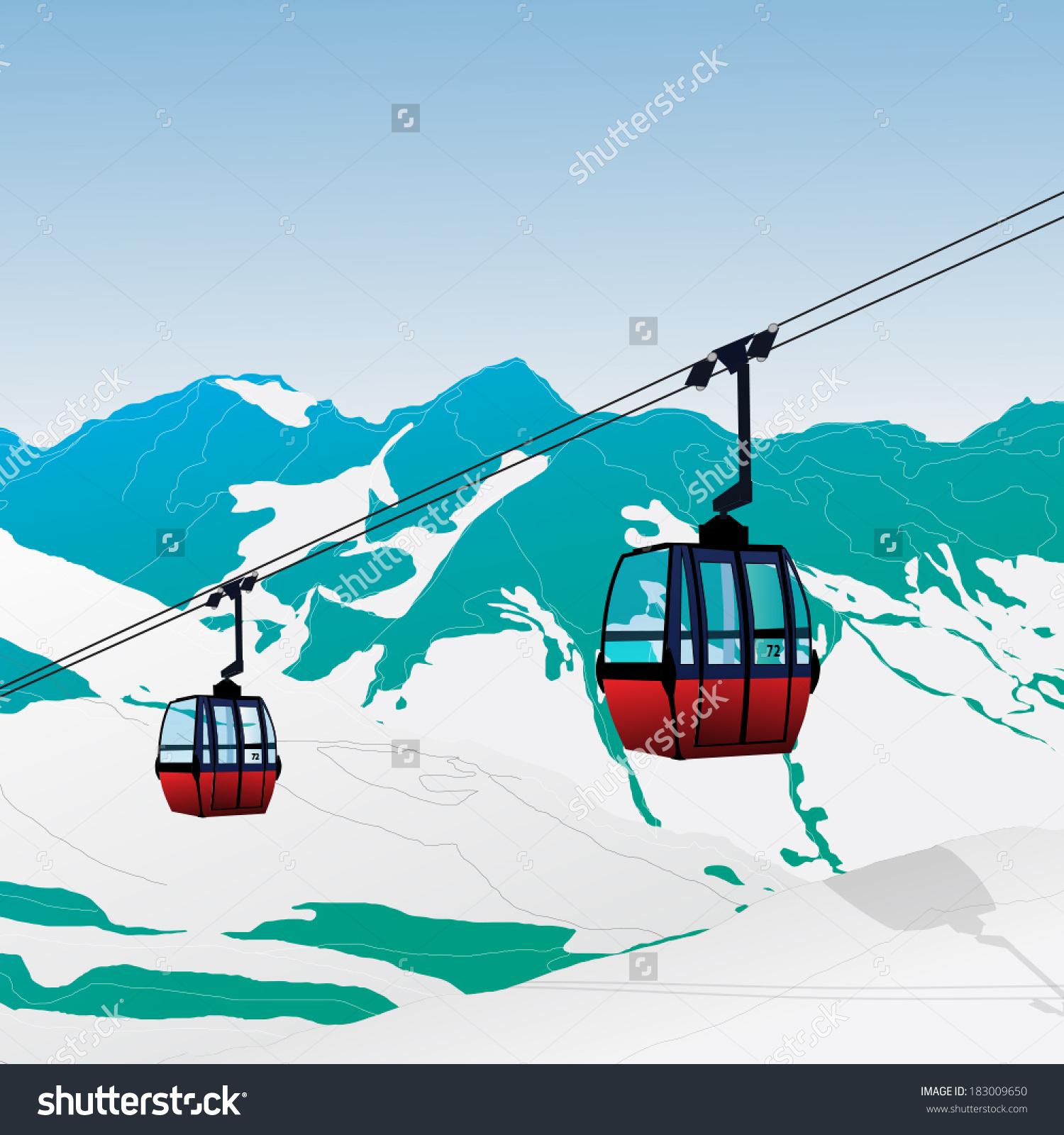 Ski Lift Gondola Snow Mountains Vector Stock Vector 183009650.