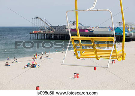 Stock Photo of Chair lift and beach at seaside heights, new jersey.