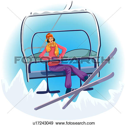 Stock Illustration of Riding the Chairlift u17243049.