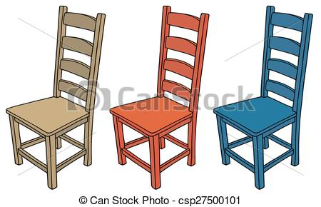 Vector Clipart of Wooden chairs.