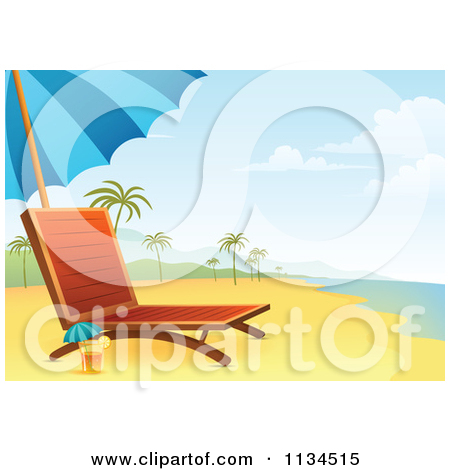 Clipart Of A Chaise Lounge And Cocktail On A Tropical Beach.