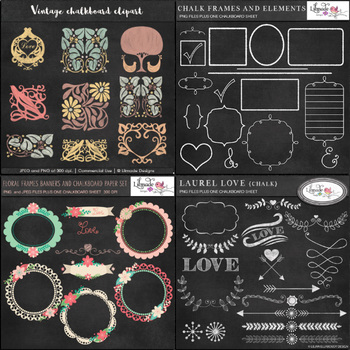 Chalkboard clipart bundle 76 graphics.