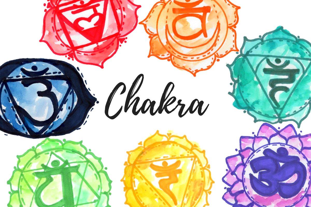 Watercolor Chakra Clipart.