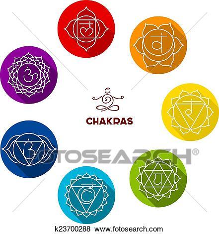 Chakra color flat set Clip Art.