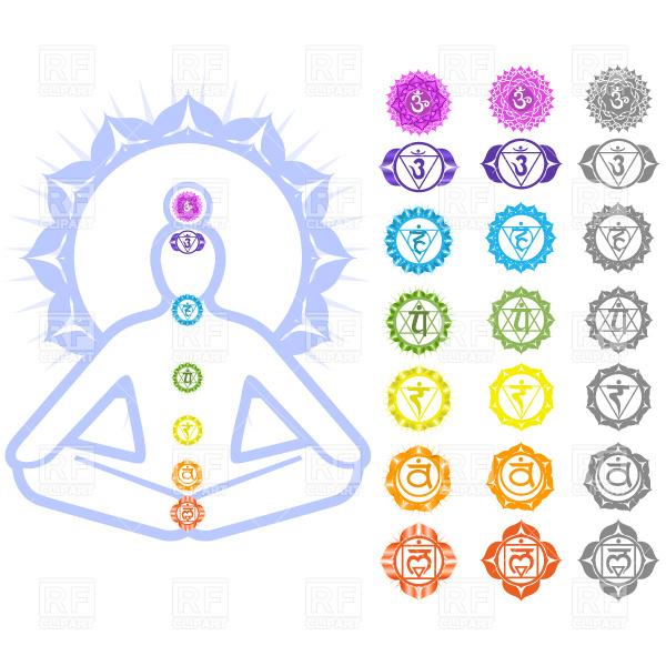 Seven Chakras and spirituality symbols Stock Vector Image.