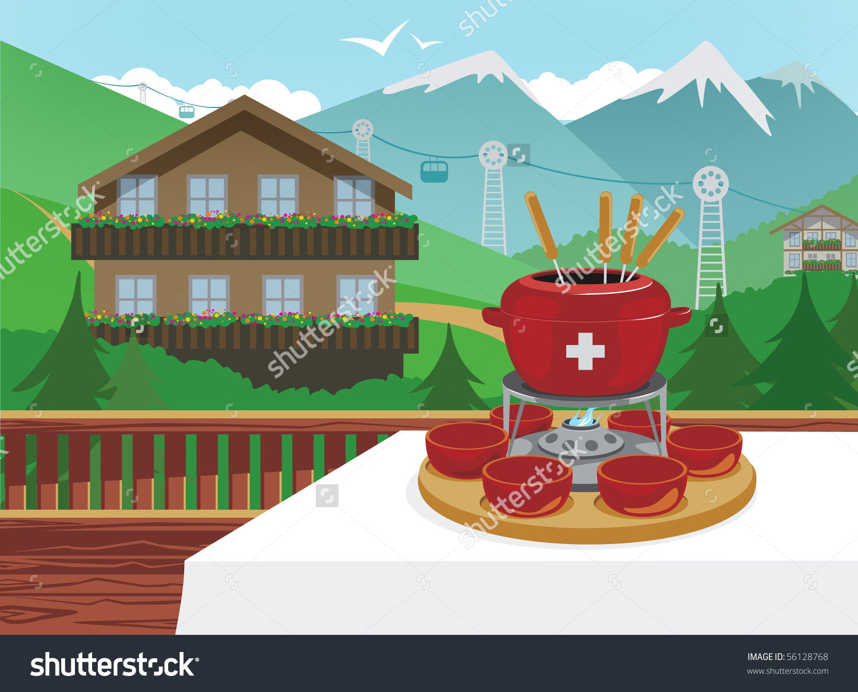Swiss chalet clipart.