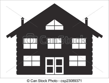 Vectors Illustration of Log Chalet Silhouette.