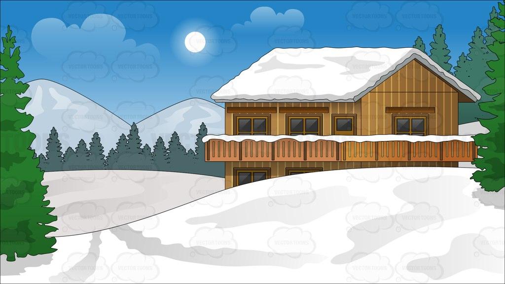 Winter Chalet Clip Art.