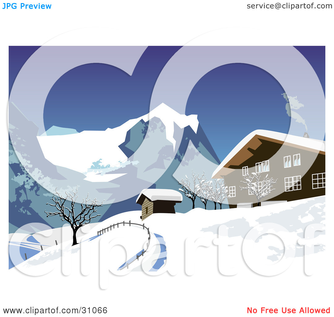 Clipart Illustration of Smoke Rising From A Chalet In The Snowy.