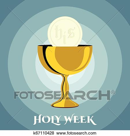 Holy week banner with a chalice and host Clip Art.