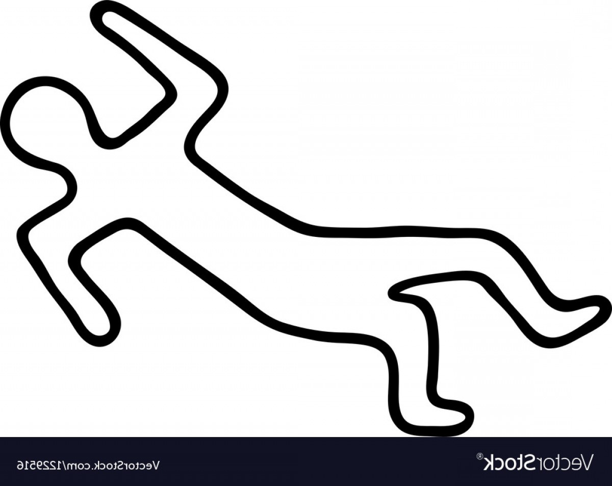 Chalk Outline Of A Dead Body Vector.